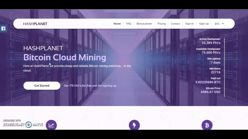 Bitcoin Mining – 175 GH/s Free, Invest in Crypto Mining – 40.000 Satoshi Withdraw Limit