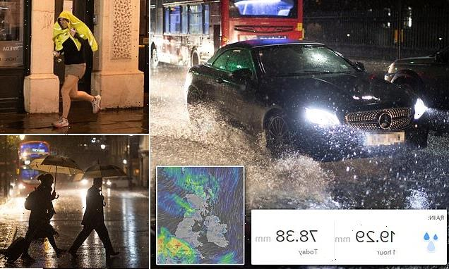 Southern Britain is battered by three inches of rain and 45mph gales